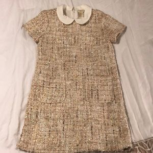 Knitted Sequenced Prep Collar Dress